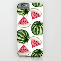 iPhone Cases featuring Watermelon pattern. by Julia Badeeva
