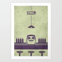 Top Shelf Owl Minimal Poster Art Print