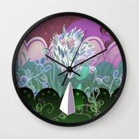 Flower Stone landscape, night Wall Clock