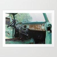 Old Ford Truck - Inside … Art Print