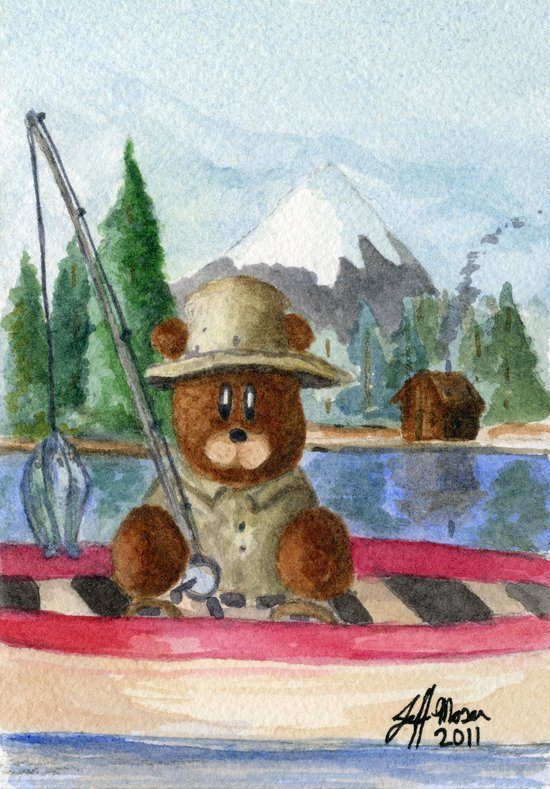 Fisherman Bear Art Print