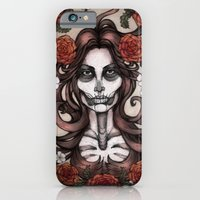 iPhone & iPod Case featuring Blossoming Day of the Dead by Alex Kujawa