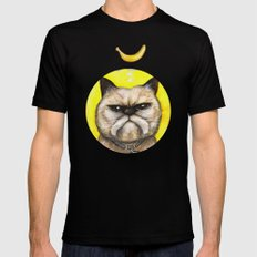 Winston Bananas - Cats with Moustaches Black SMALL Mens Fitted Tee