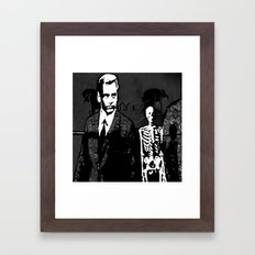Dr. Hughes And The Skeleton In His Classroom Framed Art Print