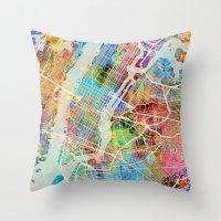 New York City Street Map Throw Pillow