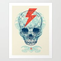 logo Art Prints featuring Skull Bolt by Rachel Caldwell