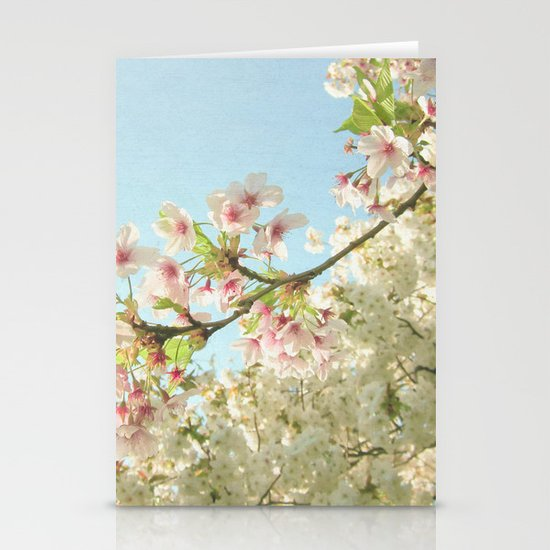 Pink on White Stationery Card