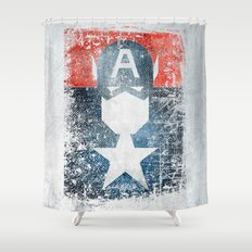 Yankee Captain grunge superhero Shower Curtain