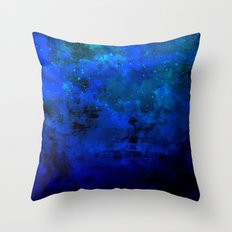 SECOND STAR TO THE RIGHT Rich Indigo Navy Blue Starry Night Sky Galaxy Clouds Fantasy Abstract Art Throw Pillow