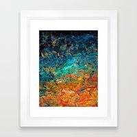 ETERNAL TIDE 2 Rainbow Ombre Ocean Waves Abstract Acrylic Painting Summer Colorful Beach Blue Orange Framed Art Print