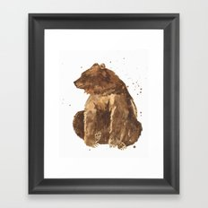 Bear, brown bear, guy art, man cave, woodsman, forestry lover, wild thing, daniel boone person Framed Art Print