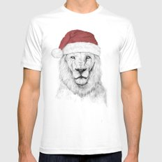 Santa Lion Mens Fitted Tee White SMALL