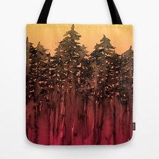 FOREST THROUGH THE TREES 12 Hot Pink Magenta Orange Black Landscape Ombre Abstract Painting Outdoors Tote Bag