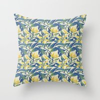 Vanilla Flowers Throw Pillow