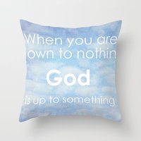 Throw Pillow featuring God is up to something by Sweet Moments Captured