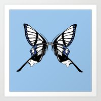 Mirror Butterfly Art Print