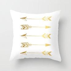Faux gold foil arrows Throw Pillow