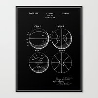 Basketball Patent - Black Canvas Print