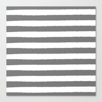 Grey and white stripes - classy college student collection Canvas Print