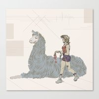 A Girl and a Llama Canvas Print