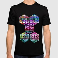 Neon Aztec | Purple Pink Neon Bright Andes Abstract Pattern SMALL Black Mens Fitted Tee