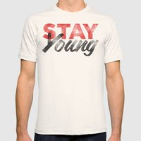 Stay Young Mens Fitted Tee Natural SMALL