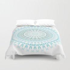 Turquoise White Mandala Duvet Cover