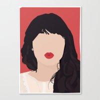 Zooey Deschanel Portrait Canvas Print