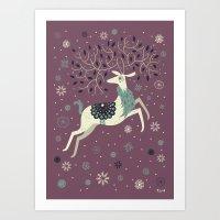 Prancing Reindeer Art Print