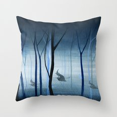 Witches Flying Low Through the Woods Throw Pillow