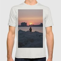 Summer Sun Mens Fitted Tee Silver SMALL