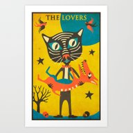 Tarot Card Cat: The Love… Art Print