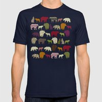 bear wolf geo party Mens Fitted Tee Navy SMALL