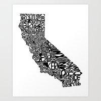 Typographic California Art Print