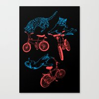 Cats on Bikes Canvas Print