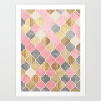 Silver Grey, Soft Pink, Wood & Gold Moroccan Pattern Art Print