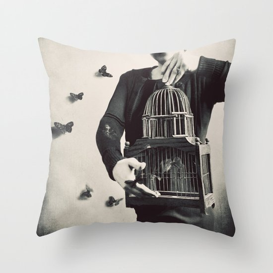 The Butterfly Releaser Throw Pillow