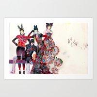 girls Art Prints featuring Girls by Felicia Atanasiu