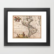 1658 Visscher Map of North America & South America (with 2015 enhancements) Framed Art Print