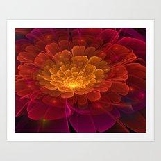 3D Peach Flower Art Print