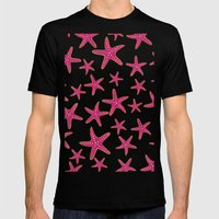 Summer pink neon watercolor gold starfish pattern Mens Fitted Tee Black SMALL