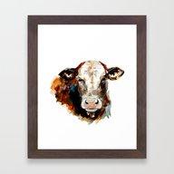 Cow Watercolor Framed Art Print