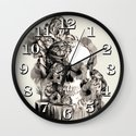 Life on a pedestal, floral skull Wall Clock