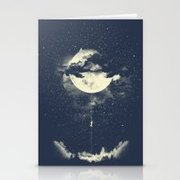 portrait Stationery Cards featuring MOON CLIMBING by los tomatos