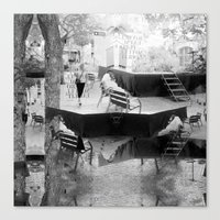 Summer space, smelting selves, simmer shimmers. [extra, 10, grayscale version] Canvas Print