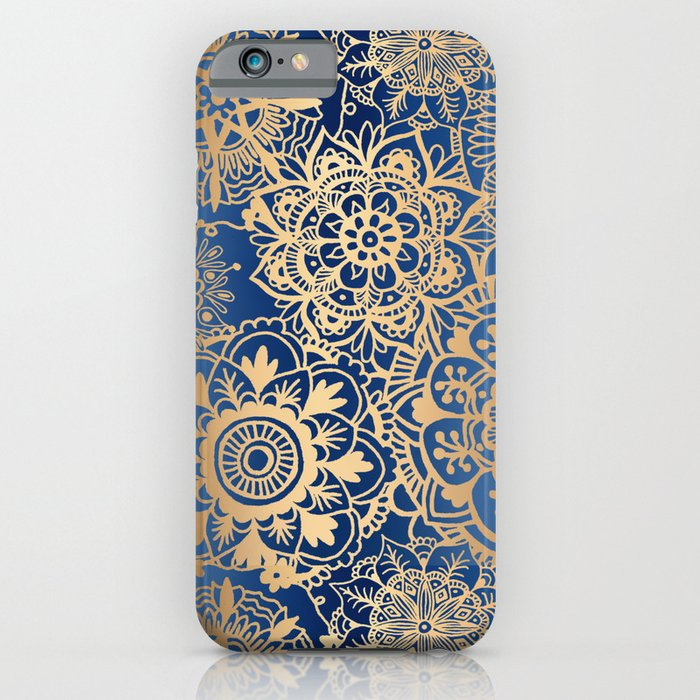 blue gold mandala pattern iphone case