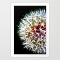 fractal Art Prints featuring Fractal dandelion by Mark Nelson