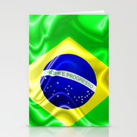 Brazil Flag Waving Silk Fabric Stationery Cards