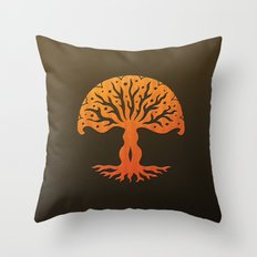 Tree of Life Woodcut Throw Pillow