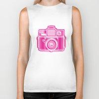 I Still Shoot Film Holga Logo - Pink Biker Tank